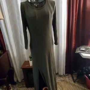 Hayden double slit, long dress,olive green, N.W.T